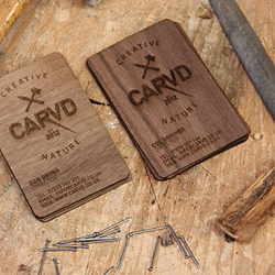 Great business cards made from wood from UK based, CARVD.