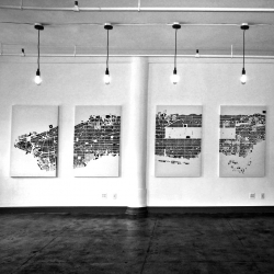 "New York Scaled - CityFabric's Debut Exhibition in NYC featuring a 26' long Manhattan Island at 1"": 300' scale."