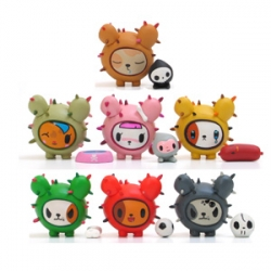 Blind boxed new little Cactus Pups from TokiDoki and StrangeCo ~ come with a special individual accessory - dog bowl, soccer ball, sausage, skulls... and my fav, that little deathly sidekick