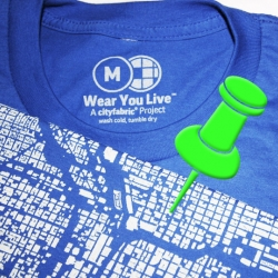 Wear You Live™ by CityFabric® is Urban Design you can wear. These wearable maps depict all the buildings in a city rather than the roads or transit lines, allowing anyone and everyone to tell a story about their place.