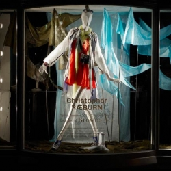 London's edgy boutique Browns Focus has bedecked their windows with Christopher Raeburn's latest fantastically colorful collection made from re-deployed parachutes and military fabrics, Digital Rainbow.