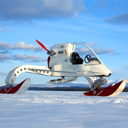 The CIV (Concept Ice Vehicle) built as a manned scout rover for a trans-Antarctic expedition. It's a cross between an ultra-light and a snowmobile with a supercharged BMW 1150 engine that runs on biofuel.