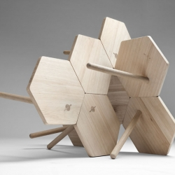 """Lean Tables"" A table design that uses a simple hexagonal shape and traditional crafts to create playfull configurations.Designed for Coordination by Flip Sellin & Markus Dilger"