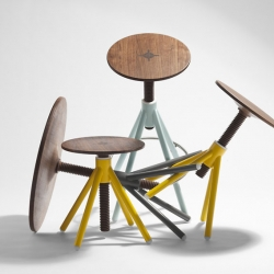 """Thread Family"" by Flip Sellin / Coordination consists of three members featuring well crafted lathed threads and tops from walnut wood connected by a visible wedge-joint. The vividly colored bases are inspired by bicycle frames."