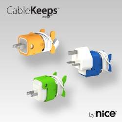 CableKeeps give your dull white transformer some personality and added utility.  They secure your USB docking cable to Apple power adaptors used with iPads, iPhones, & iPods so cable & charger stay together.