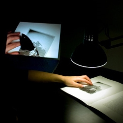 """One of the most elegant applications and combination of tech and furniture (desk lamp+cam) for an AR concept. Created by Camille Scherrer, """"Le Monde des Montagnes"""" offers a glimpse to the future of pop-up books."""