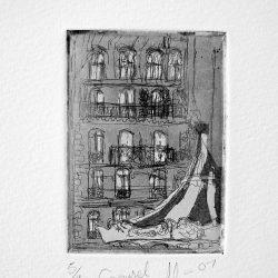Prints of French facades by Soula Mantalvanos showing at The Convent Daylesford.