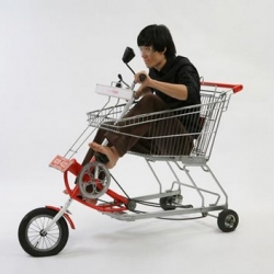 Combining the idea of a shopping cart and a bicycle korean designer jaebeom jeong has come up with 'cartrider.