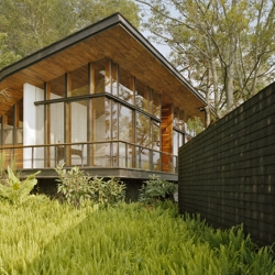 Casa en el Bosque was designed by Parque Humano, located in in Valle de Bravo, Mexico, near Avándaro Lake and the protected forest area of Cerro Gordo. This design has a strong connection to its surrounding nature.