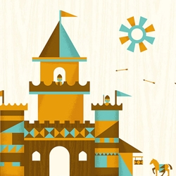Castle scene illustrations by designer and illustrator Dominic Flask.