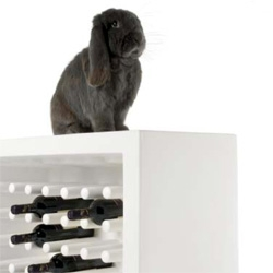 Marcel Wanders teams up with Slide for their 2008 collection, and to show off his new Bachus wine rack is an adorable grey flop... and see the weimaraner with the Chubby chair.