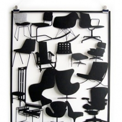 Have all of the classic chairs from the 20th century in your living room - if only on the wall. Laser cut from paper. From Cut Out Paper, a small studio based in East London.