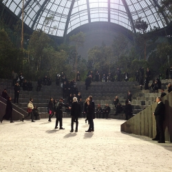 Behind the scenes as Karl Lagerfield transforms Grand Palais into a dazzling forest wonderland for Chanel's Spring 2013 Haute Couture show.