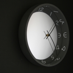 Convex mirror clock by Vancouver product designer Matthew Buck, marketed under banner Reflecting Design. Part of convex mirror interior accessory line.