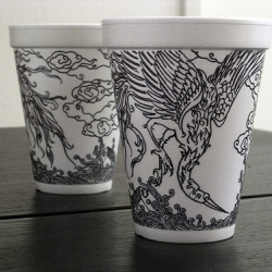 Fantastic coffee cup drawings by Cheeming Boey.