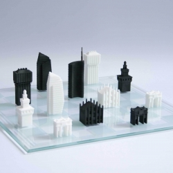 Italian designer Davide Chiesa came up with the idea that new modern buildings and historical presences could live side by side, not only in the physical reality but also in a miniature world. That's why he designed this 3D printed Milan chess set.