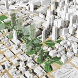 Perkins + Will Architects have proposed this green urban park for Chicago's West Loop, right on top of the busy Kennedy Expressway.