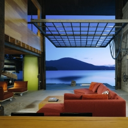 Olson Kundig Architects idea for the Chicken Point Cabin - A small cabin designed with large moving glass wall.