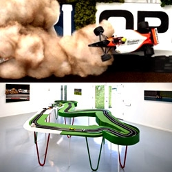 Photograph-like sculptures/paintings by Chris Beas inspired by Ayrton Senna's career including his fatal crash in San Marino on diplay in LA til July 8th.
