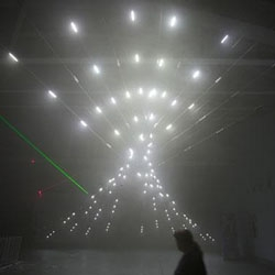 Media artist Chris Salter's light and sound installation 'n-Polytope' at LABoral in Gijon, Spain.