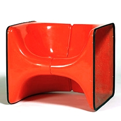 "Christian Germanaz colorful chair ""Half & Half"" designed in 1964 and available through Demisch Danant."