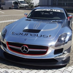 This particularly shiny SLS AMG GT3 was used to promote Laureus, during the recent F1 German Grand Prix in Hockenheim. The polished look doesn't look all that bad, I wonder how long it'll be until it shows up in Dubai.