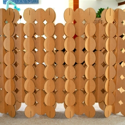 Circle Wall - New slotted cardboard room divider designed by ben blanc studio for Cardboardesign. Its made from chemical free, recycled and recyclable cardboard!