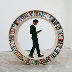 A creative circular bookshelf created by architect David Garcia, part of the Archive Series.