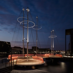 Danish artist Olafur Eliasson designed a circular bridge in Copenhagen, that from a distance looks like boat masts.