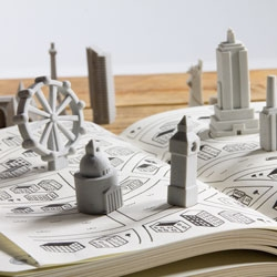 Mini Architecture in Rubber - Iconic buildings reproduced as rubber erasers. Each set contains four unique buildings inspired by famous city skylines.