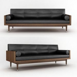 This is a very elegant sofa design made of upholstery material kulilit bolsters and pillows, with sophisticated lines, rich walnut and aluminum base legs, Sofa Bowman answers his own authority.
