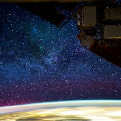 Stunning time lapse photography taken from the International Space Station at night.