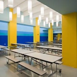 Achievement First Endeavor School in Brooklyn boasts a colorful school interior with bold typography designed by Pentagram and Rogers Marvel Architects.
