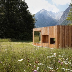 "Inspired by the 18th century English garden ""follies"", German Architects Baumhauer have completed FOLIE, a romantic and abstract wooden shelter."
