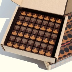 Commune Design collaborated with Valerie Confections to create this box of chocolates inspired by Byzantine tiles.