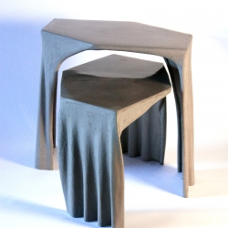 Fabric Concrete Coffee Table, inspired by Antoni Gaudí's form study with gravity. These self organized forms are so organic that it gives a glimpse of natural structure like trees.