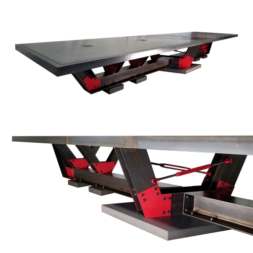 A 20 feet long concrete top conference table with steel I-Beam frame, set on 5 concrete footings. Designed and fabricated by Designs by Rudy, Chicago based concrete furniture design studio.