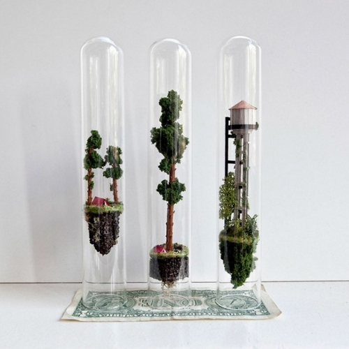 Micro Matter - Rosa de Jong, a Dutch artist, creates tiny islands inside test tubes.