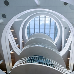 The design of this very open, circular building, home to Saxo Bank, is by 3XN design.  Building is located in Copenhagen.