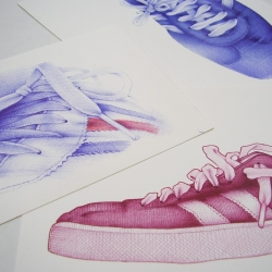 Ballpoint pen drawings of Adidas shoes by British illustrator Andrea Joseph.