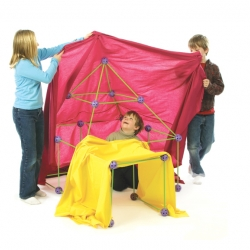 Just when you thought a kid's world was powered exclusively by batteries. Crazy Forts uses geometrically precise balls and sticks to create a multitude of play fort possibilities that you simply throw a sheet over.