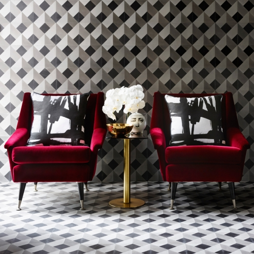 Greg Natale has released four new captivating encaustic  tile designs - each explores the illusionary impact of repeated patterns, crisp geometrics and a chic palette of greys.
