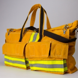 A duffel bag made from a firefighter's retired turnout jacket is a very cool reuse of materials.