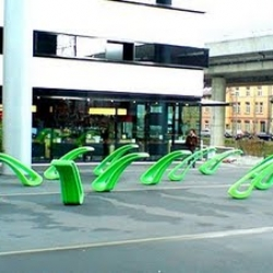 Pebro is both a bench and a sculpture all at the same time. When it is unoccupied, Pebro stands  up.