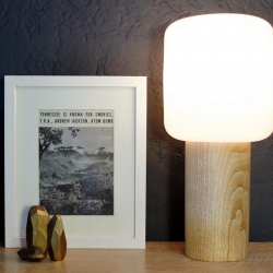 Robert Zurn of Damm created this lamp as an homage to his birthplace, Oak Ridge,TN, the clandestine city, which refined the uranium used in the first atomic bomb, code name 'Little Boy'.