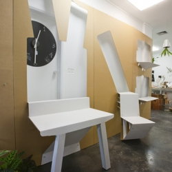 Fold-out Cardboard interior for Melbourne's State of Design Festival by Kristian Aus and Toby Horrocks.