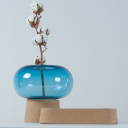 "The glass and cork ""Deneb"" vase by French designer Guillaume Delvigne at Specimen Éditions, Paris."