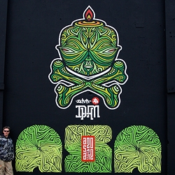 A new giant stencil piece mural by DHM for the ASA (Amsterdam Street Art) festival 2012