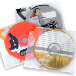 Silkscreened cds, the case is really cool, they have a couple unique disc storage devices