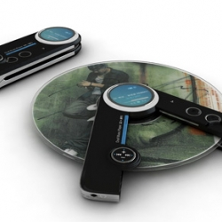 This is a CONCEPT music player that can play both mp3s and cds.  Definitely a very cool idea. by Yong-Seong Kim